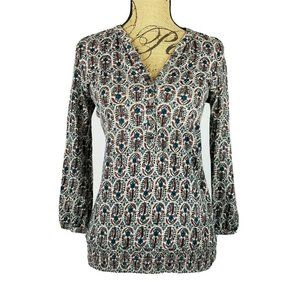 Lucky Brand Printed Blouse Small 3/4 sleeve